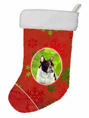 "Caroline's Treasures LH9337-CS French Bulldog Red and Green Snowflakes Holiday Christmas Stocking, 11 x 18"", Multicolor"