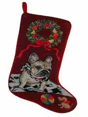 French Bulldog Dog Needlepoint Christmas Stocking