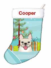 Christmas Tree and French Bulldog Personalized Christmas Stocking BB1610CSEMB