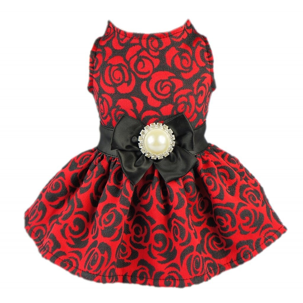 fitwarm-elegant-rose-bowknot-belt-dog-dress